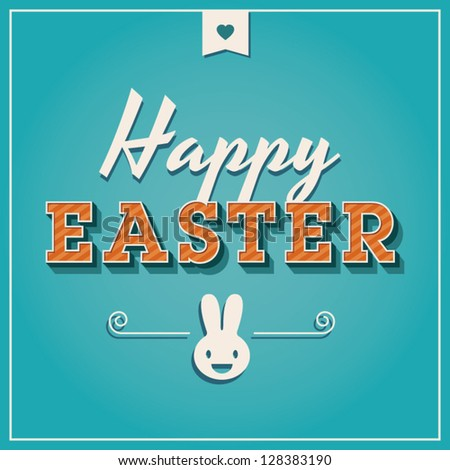 Happy easter cards illustration retro vintage with easter bunny, easter rabbit, ornaments, and fonts