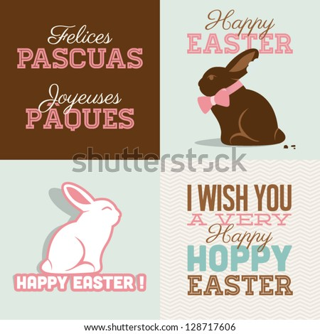 Happy easter cards illustration with easter bunny chocolate, easter rabbit and font.