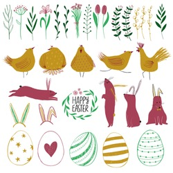 Happy Easter collection with colorful isolated funny elements - plants, birds, animals and eggs.