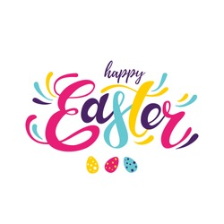 Happy Easter colorful lettering, easter banner