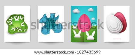 Happy easter concept. Set holiday background for cover, invitation, poster, banner, flyer, placard. Minimal template design for branding, advertising in paper cut style. Vector illustration. #1027435699