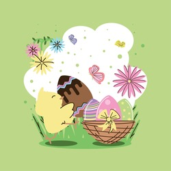 happy easter cute chicken with eggs flowers butterfly and basket vector illustration cartoon