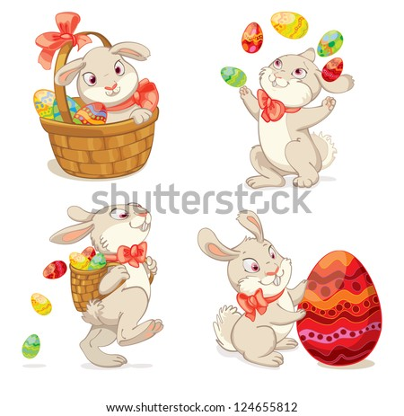 happy easter cute easter bunny