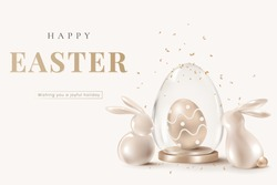 Happy Easter 3D rendering banner template vector with golden bunnies and egg