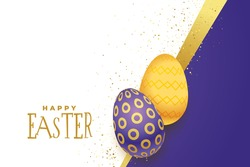happy easter day banner.Easter eggs composition hand drawn background.