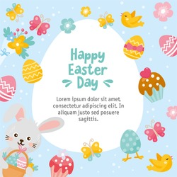Happy Easter Day card. Illustration with easter eggs, little rabbit, spring bouquet and holiday elements. Creative frame for your design.