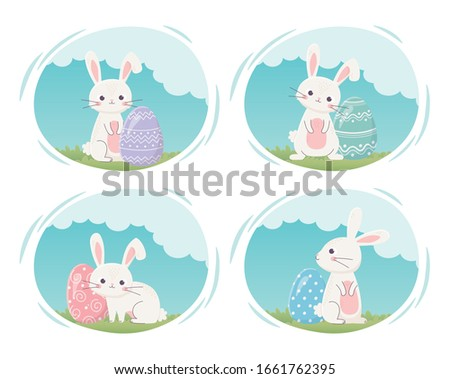 happy easter day  cute rabbits