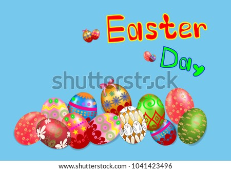 Happy Easter day, Easter eggs collection on a white background, Holiday Vector Illustration design. #1041423496