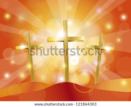 Happy Easter Day Good Friday Gold Cross on Sun Rays on Sky Blue Bokeh Circles and Blurred Background Illustration Vector