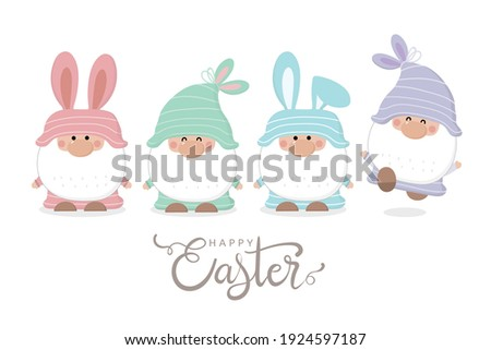 Happy Easter Day greeting card with cute gnome with bunny ears. Holidays cartoon character. -Vector