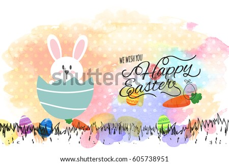 Happy Easter Day greeting with a paint splash background.
