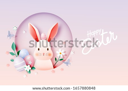 happy easter day in paper art