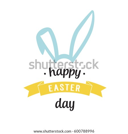 happy easter day lettering with