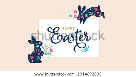 Happy Easter, decorated easter card, banner. Bunnies, Easter eggs, flowers and basket. Folk style patterned design.  Foto d'archivio ©