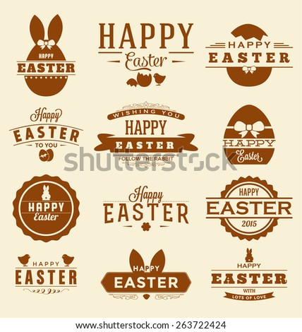 Happy Easter Design Collection - A set of twelve vintage style Easter Label Designs on light creamy background