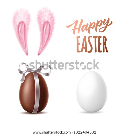 Happy easter design collection. Realistic chocolate egg with ribbon, white chicken egg, pink rabbit ears .Easter holiday poster celebration design. Vector 3d dessert, chicken egg made of dark cocoa.
