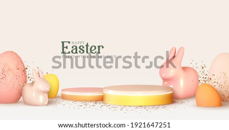 Happy Easter. Design Rabbit with Eggs. Festive spring 3d composition. Realistic stage, podium, holiday studio. Minimal background. Modern Creative template. Banner and poster, cover and brochure