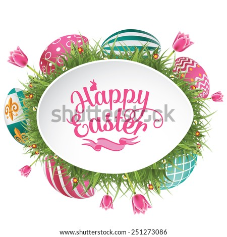 happy easter design with grass
