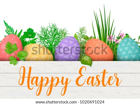 Geometric easter eggs download free vector art stock graphics happy easter easter colorful eggs in row in white wooden crate with cooking herbs negle Image collections