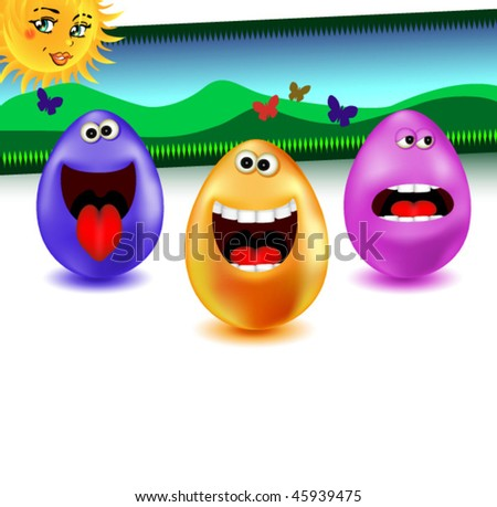 happy easter egg collection singing and laughing in springtime...