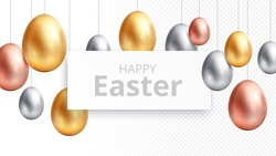 Happy easter. Egg hunting banner, celebrating poster with hanging gold eggs. Isolated springtime festive religion elements, greetings vector background