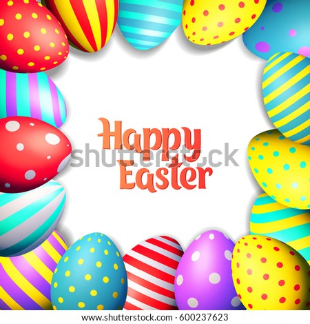happy easter eggs and text on