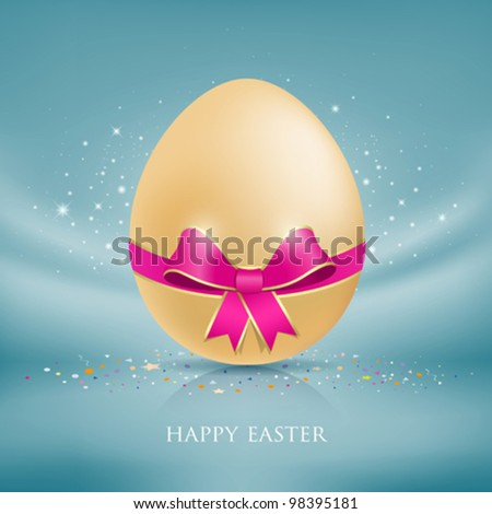 Happy easter eggs. with colorful ribbon blue fabric background. vector illustration