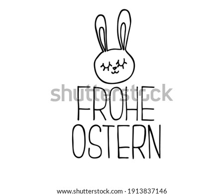 Happy Easter German text lettering calligraphy. Frohe Ostern. Vector font on white background. Great for greeting card, poster, label, sticker. Brush ink modern hand lettering. Foto stock ©
