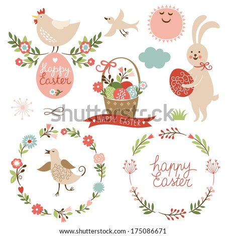 Happy easter graphic elements vector set