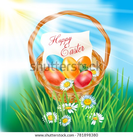 happy easter greeting  basket