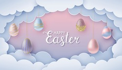 Happy Easter greeting card in paper cut style. Paper clouds and realistic Easter eggs on strings. Pink-blue template for background, banner, invitation. Vector illustration.