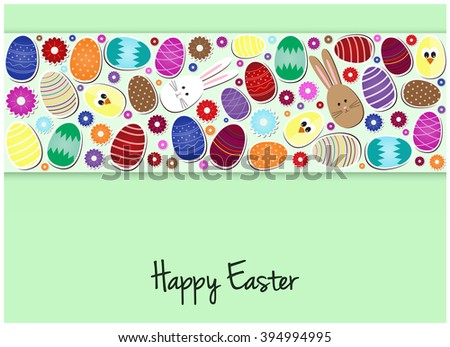 Happy Easter Greeting card or background. Vector illustration. #394994995