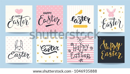 Happy Easter greeting card, party invitation, promotion poster, banner, flyer. Artistic templates collection with gold glittered texture, modern handwritten lettering, holiday symbols, bird and bunny.