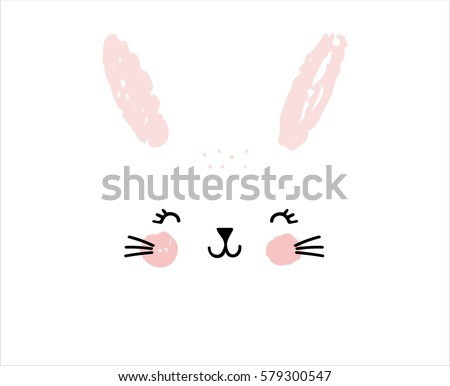 Happy Easter greeting card, poster, with cute, sweet hand drawn watercolor bunny