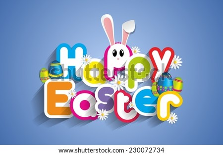happy easter greeting card with
