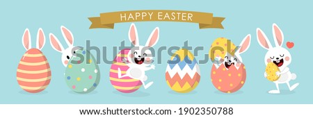 Happy Easter greeting card with cute white bunny and eggs. Rabbit character set. Animal wildlife holidays cartoon. -Vector.
