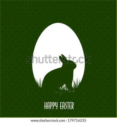 Happy Easter greeting card with egg and rabbit