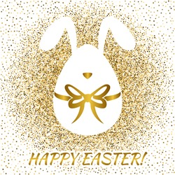 Happy Easter greeting card with funny bunny. Easter egg.  Vector illustration
