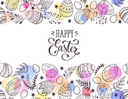 Happy Easter greeting card with watercolor spots on background. Easter eggs composition hand drawn black on white. Decorative horizontal frame from eggs with leaves and calligraphic wording.