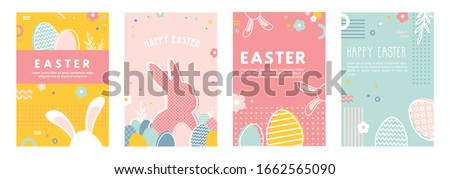 Happy Easter. Greeting cards or posters with bunny, spring flowers and Easter egg. Egg hunt poster template. Abstract line style Spring background. vector illustration