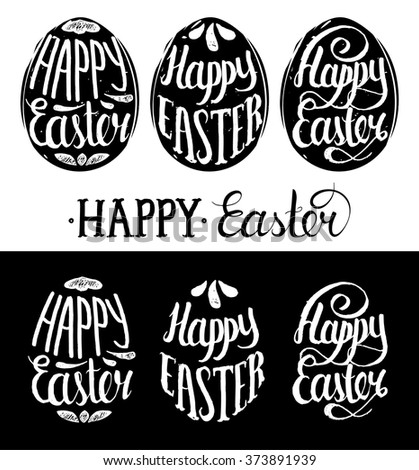 Happy Easter greeting cards. Paschal lettering in egg shapes collection. Hand written pattern background. Resurrection Sunday art logos.  - Shutterstock ID 373891939