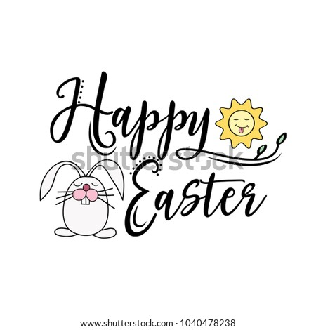 Happy Easter greeting text decorate with sun and bunny. Perfect for Easter greeting card , Vector illustration, isolated on white