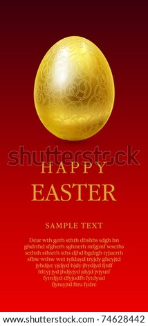 Happy easter greetings card with golden egg on red background and space for text.