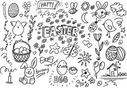Happy Easter hand drawn vector doodles