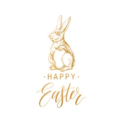 Happy Easter hand lettering greeting card. Vector sketched paschal bunny illustration on white background for holiday poster, flyer etc.