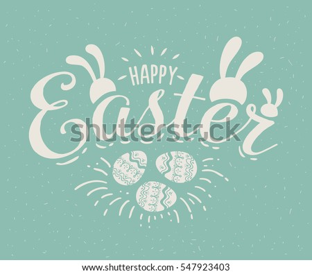Happy Easter hand sketched logotype, badge typography icon. Lettering Happy Easter with rabbit ears for greeting card, invitation template. Retro, vintage lettering banner poster template background.