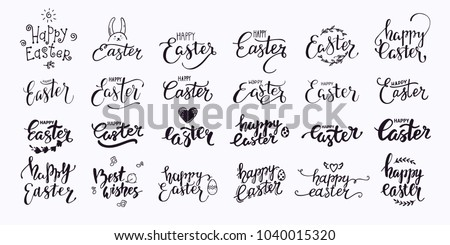 Happy Easter hand written lettering. Modern brush calligraphy text templates with Easter eggs and rabbit. Congratulation phrases for greeting card, invitation, banner, poster, flyer. Isolated vector.