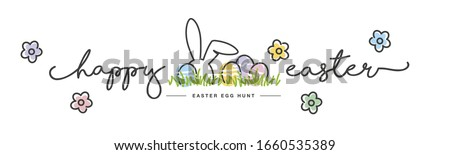 Happy Easter handwritten typography lettering text line design colorful Easter bunny eggs grass flowers white greeting card