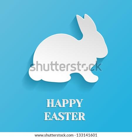 Happy Easter Illustration - White Rabbit Bunny on Blue Background