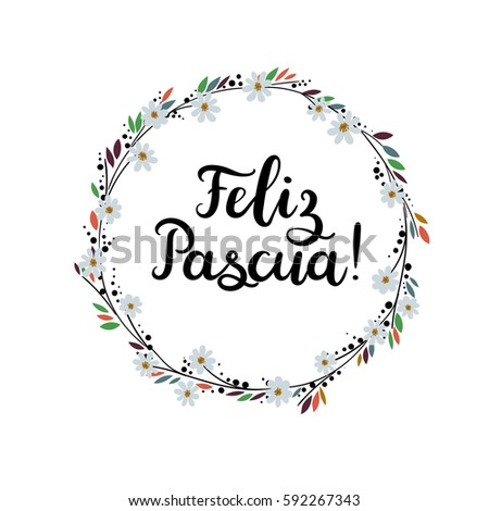 Happy easter in spanish hand lettering greeting card modern happy easter in spanish hand lettering greeting card modern calligraphy floral wreath brush m4hsunfo